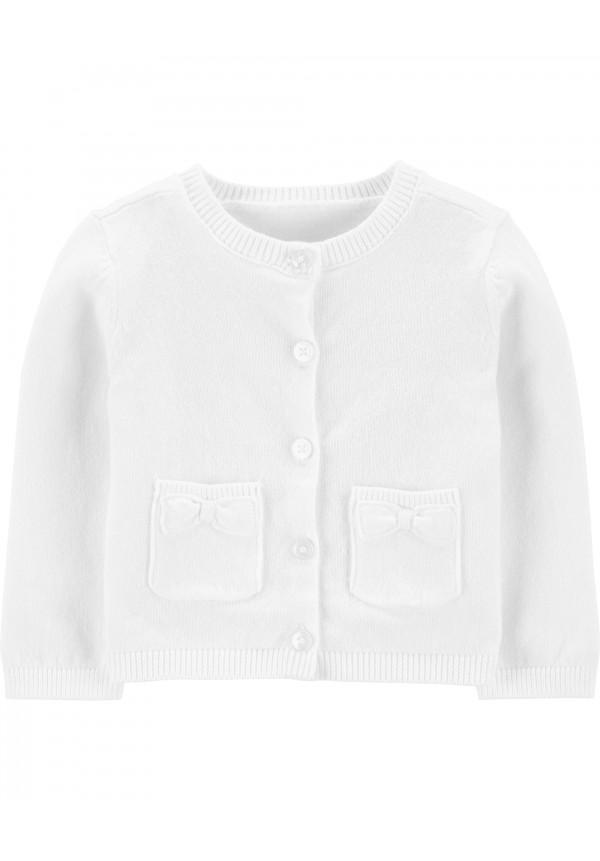 Baltas megztinukas mergaitei
